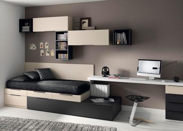 Dormitorio juvenil con cama cubos gris y arena - Decorar un dormitorio juvenil ...