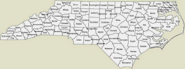bw map of north carolina counties