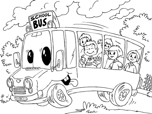 Niños en bus escolar para colorear y pintar ~ Colorea el dibujos