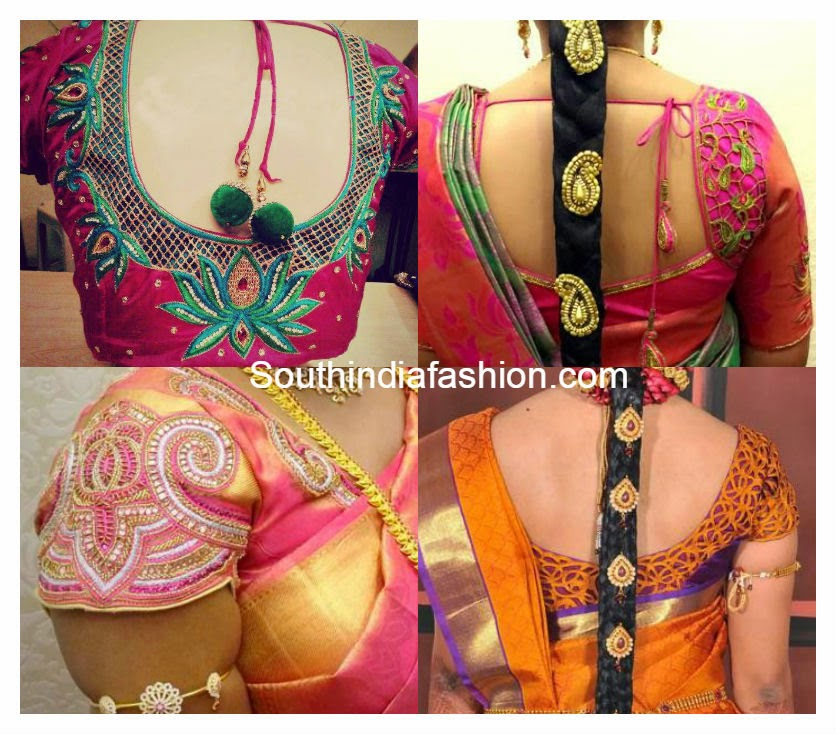 cut work blouse designs for silk sarees
