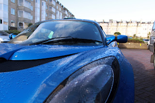blue Lotus Exige with raindrops