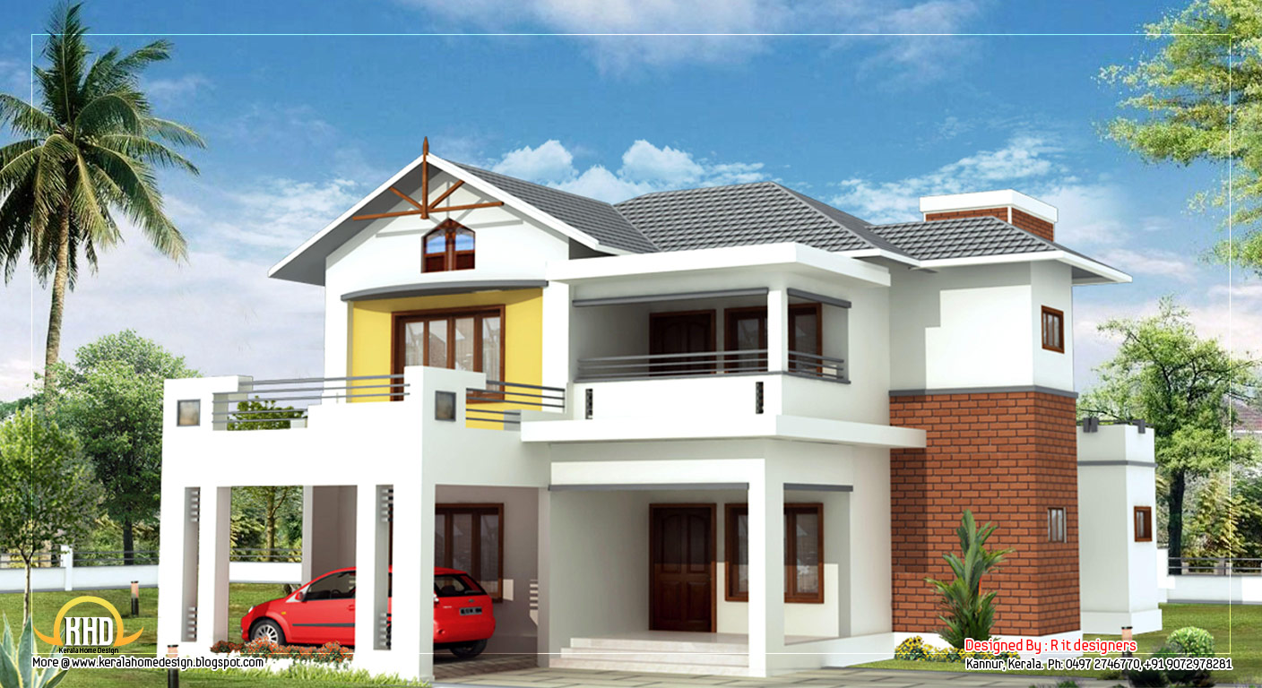 Beautiful 2 story home 2470 sq ft kerala home design for Two story home designs