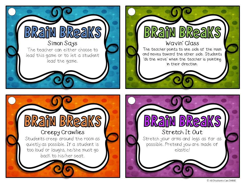 Classroom Break Ideas ~ Brain breaks all students can shine