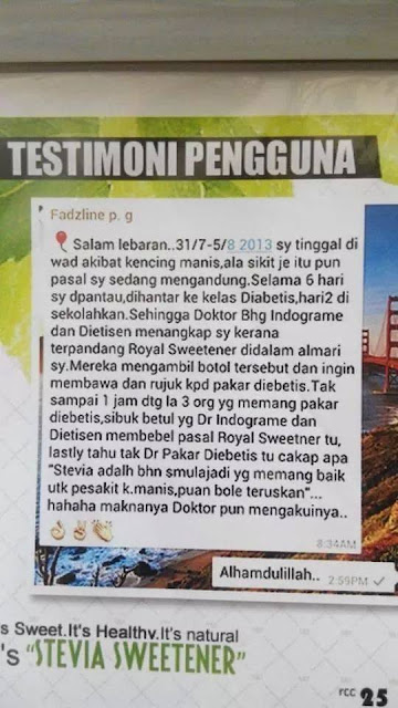 doktor pakar setuju guna gula stevia kencing manis