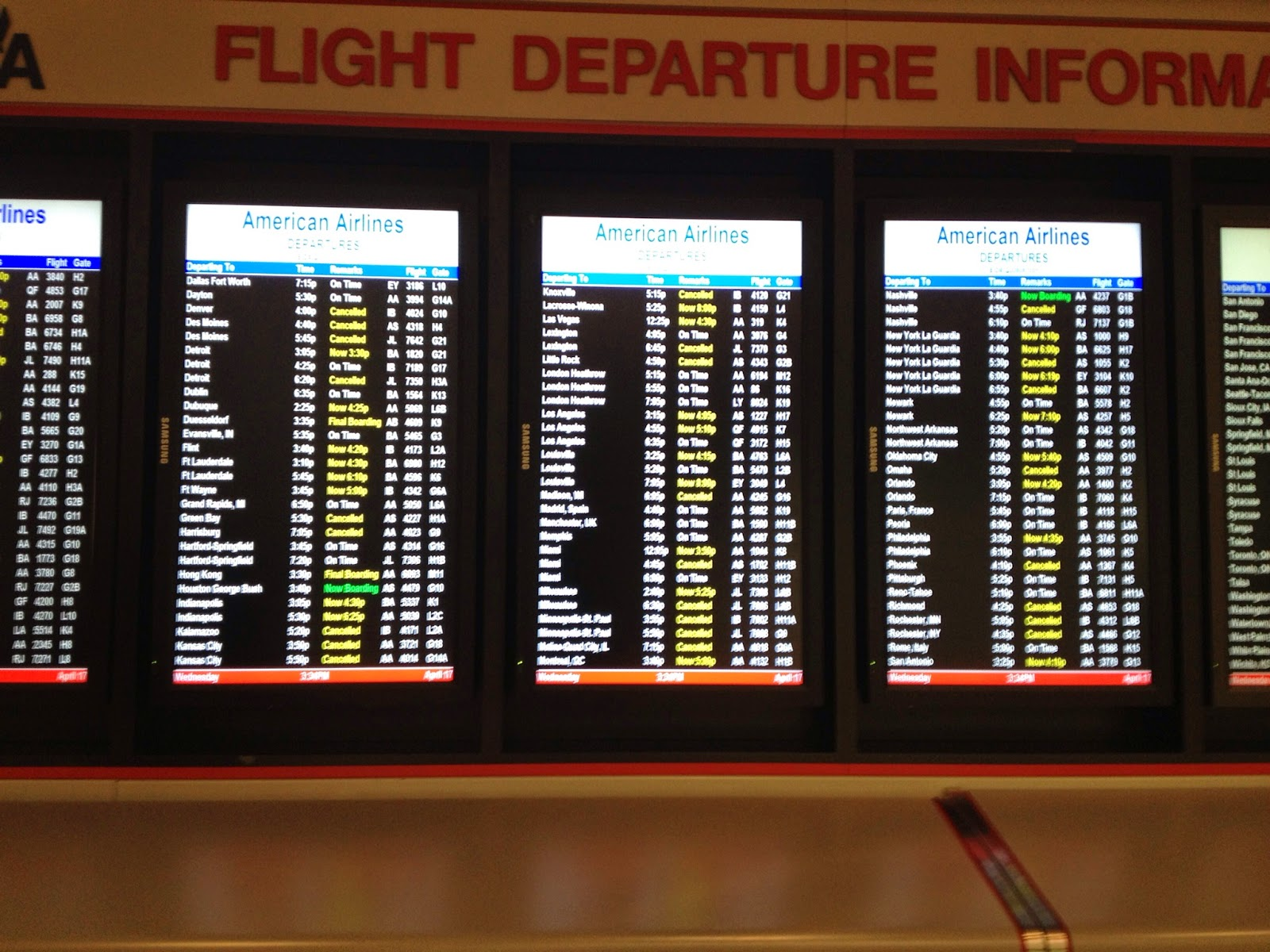 Cancelled Flights on Flight Departure Board