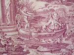 Vignette from antique French toile in puce