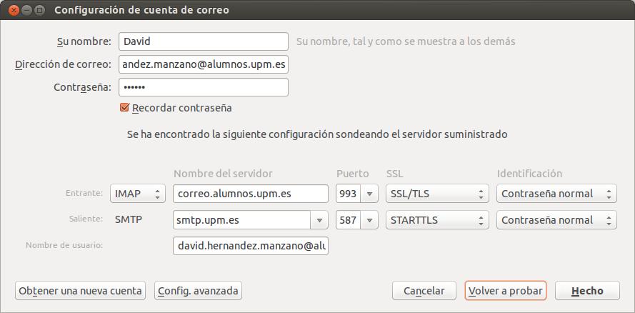 Sincronizar cuenta de correo UPM con Thunderbird, sincronizar correo upm,