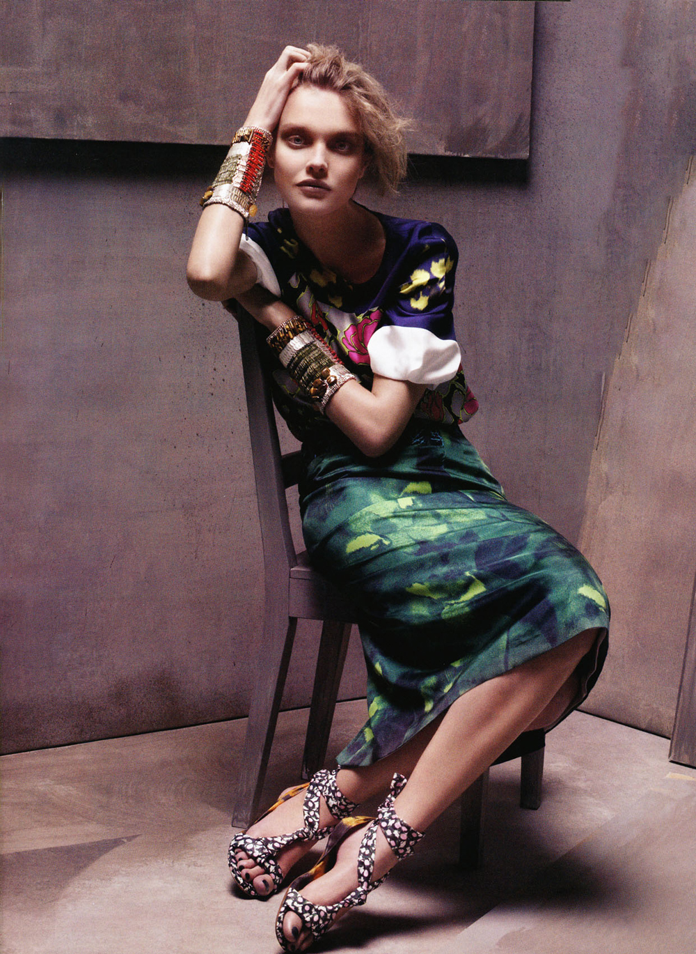 Peerless Natalia Vodianova wearing Dries van Noten in Vogue US January 2008 (photography: Steven Meisel, styling: Grace Coddington) via www.fashionedbylove.co.uk