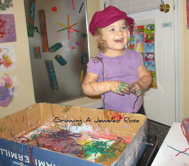 Painting with Pasta- SO FUN!