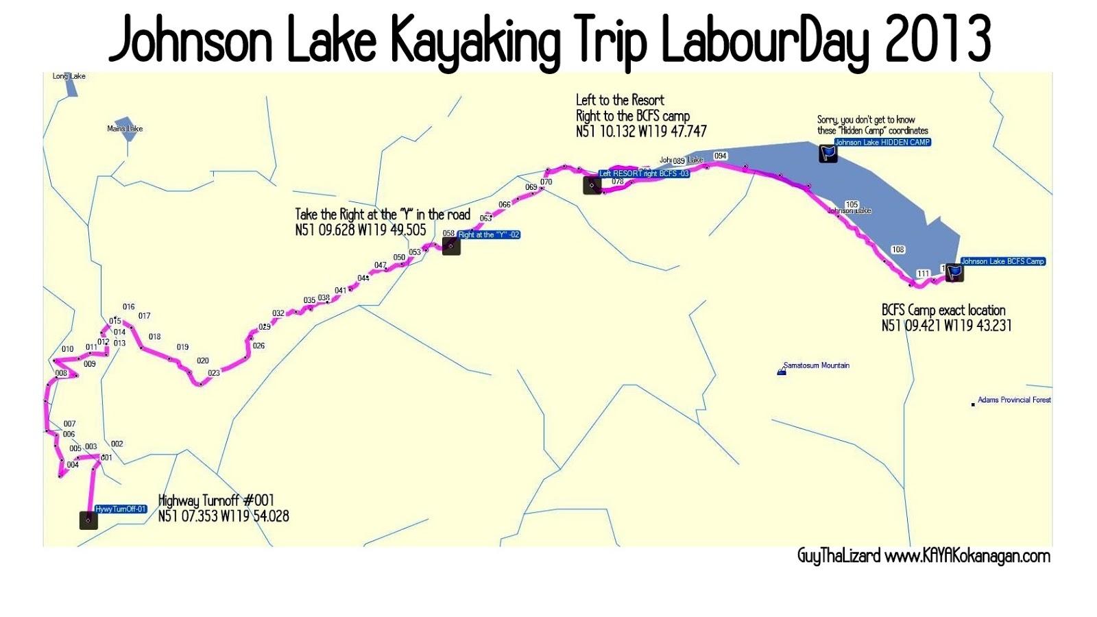 Www KAYAKOKANAGAN Com Kayaking Okanagan BLOG Johnson Lake - Johnson lake map