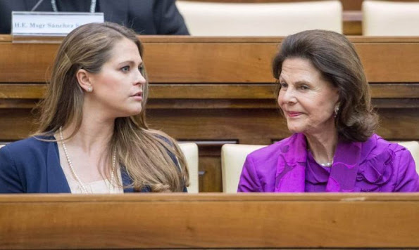 Princess Madeleine of Sweden and Queen Silvia of Sweden attended the seminar 'Trafficking with a Special Focus on Children' at the Pontifical Academy of Sciences at Casina Pio IV