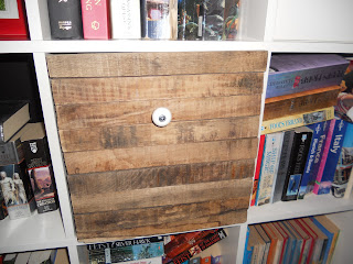 Ikea hack- expedit shelf cube with old wood