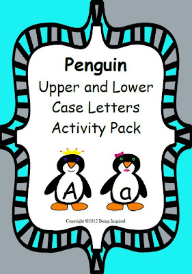 Penguin themed upper and lower case letter matching activity