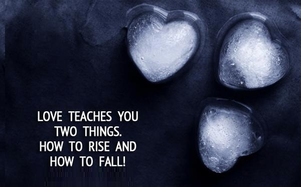Love teaches you two things. How to rise and how to fall!