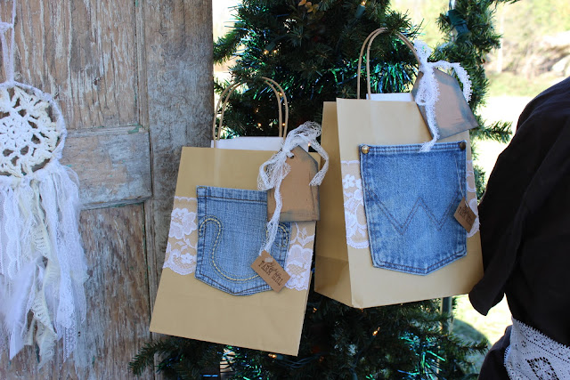 denim and lace gift wrap