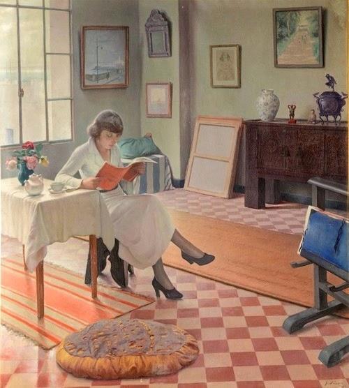 jeune fille la lecture dans un intrieur gustave lino