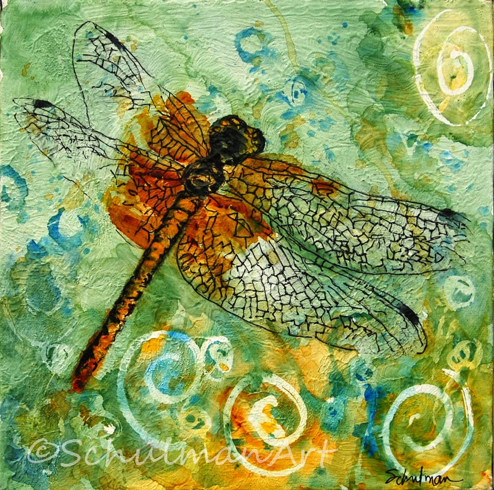Dragonflies Wall Decor Dragonfly Art Contemporary Mixed Media Collage Painting Art Modern