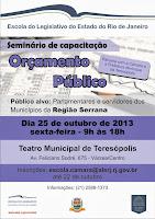 'Orçamento Público' é o tema de capacitação da Escola do Legislativo na Região Serrana-Projeto 'Elerj Itinerante' acontece no próximo dia 25, em Teresópolis