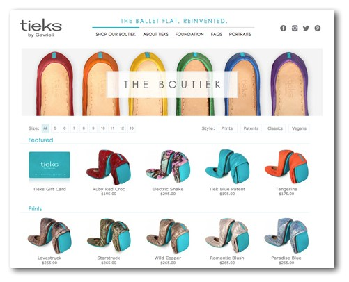 Tieks website