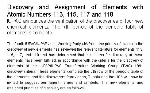 Lenguaje qumico inorgnico y orgnico la iupac y la iupap han aceptado el descubrimiento de los elementos qumicos 113 115 117 y 118 la iupac ha iniciado el procedimiento para asignarles un urtaz Images