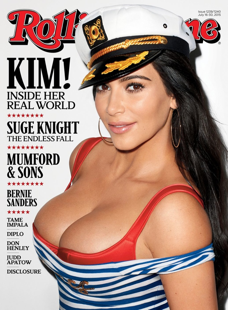 Kim Kardashian bares cleavage for Rolling Stone July 2015
