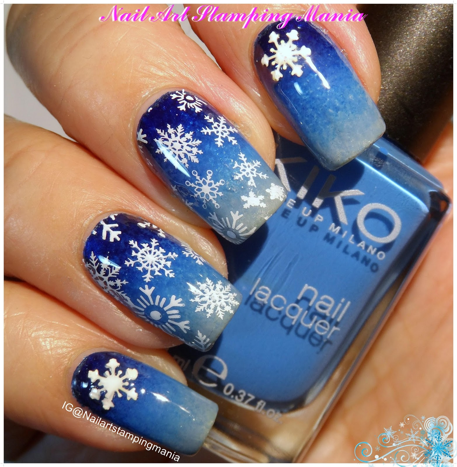 Nail Art Stamping Mania: Snowflakes Manicure with Christmas Nail Art ...