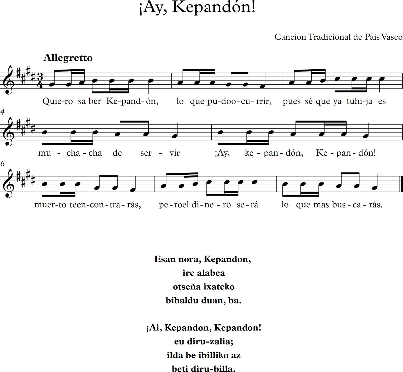 Canción Tradicional del País Vasco.