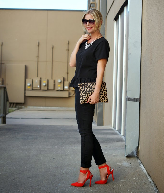 black monochromatic style idea with a pop of red