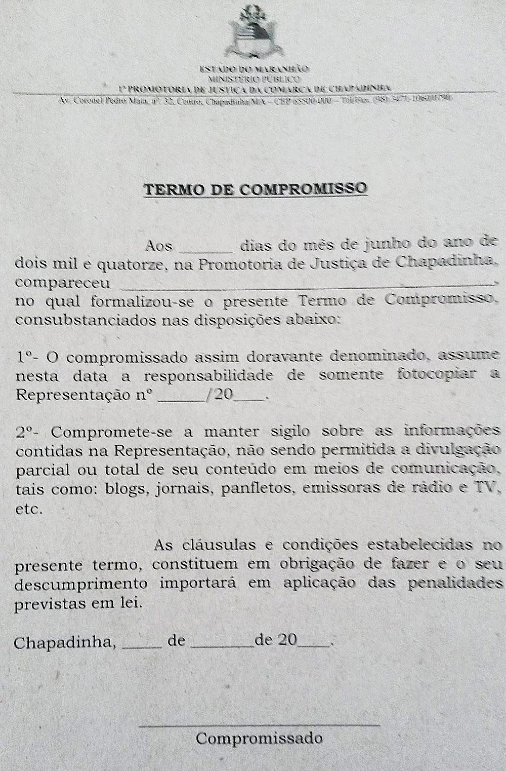 Chapadinha-MA: Gratificação ilegal - Termo de compromisso
