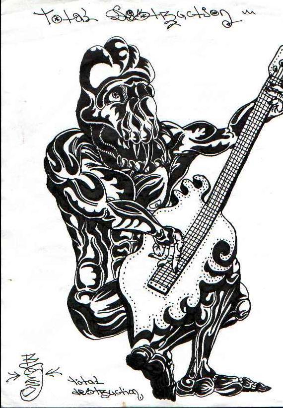 Играющий на электрогитаре рок-монстр. Графический рисунок тушью