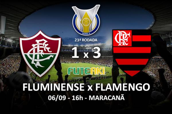 Veja o resumo da partida com os gols e os melhores momentos de Fluminense 1x3 Flamengo pela 23ª rodada do Brasileirão 2015.