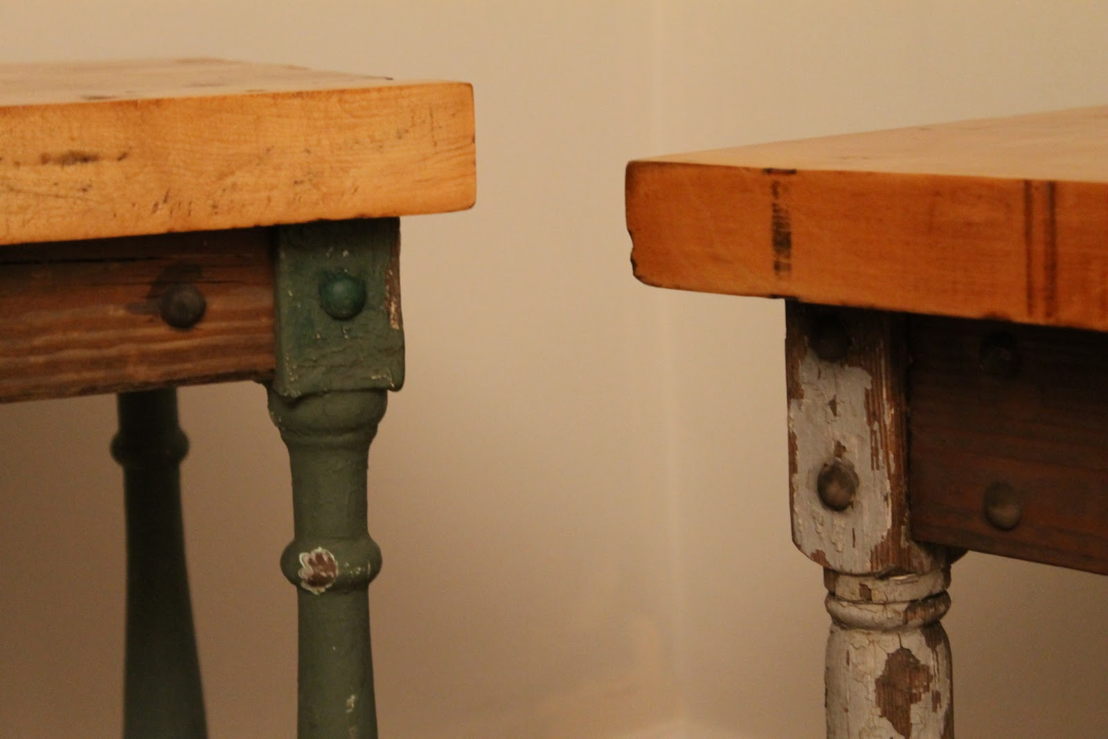 Reclaimed woodworks butcher block baluster tables
