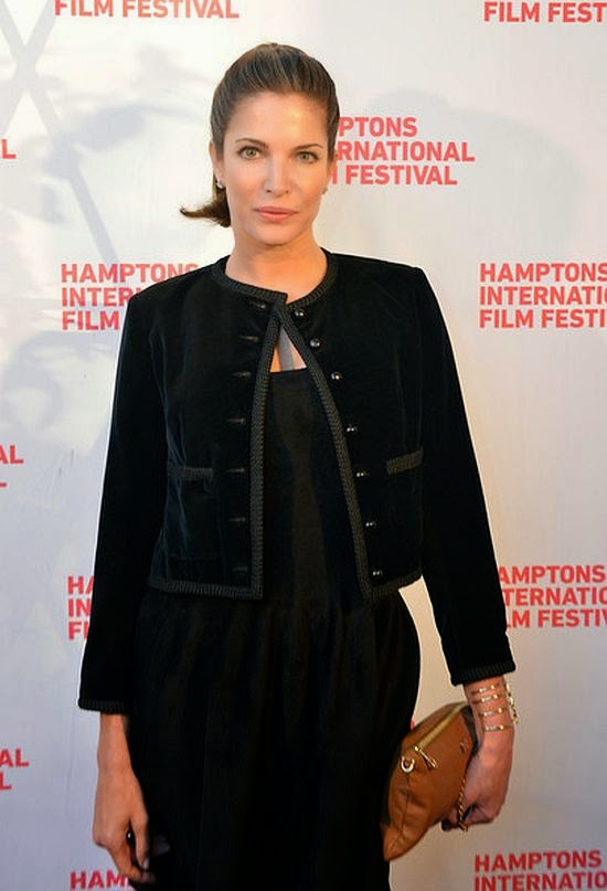 We are in love with Stephanie Seymour's a sparkly dark cardigan and leather skirt and you know who else would love it? It's a warm piece and the 46-year-old wore the creation to the 2014 Hamptons International Film Festival on Sunday, October 12, 2014 at East Hampton, New York, USA.
