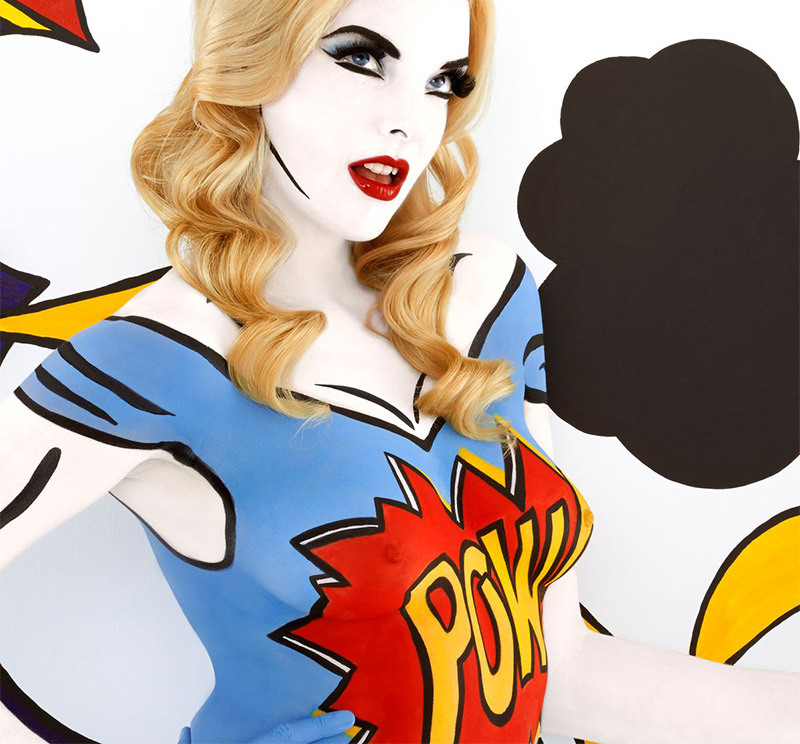 Emma Hack POP art body paint