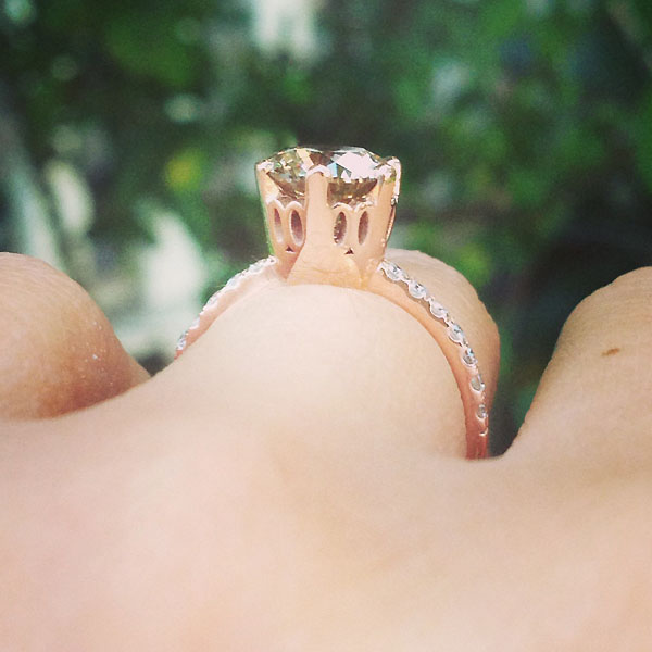 champagne diamond rose gold engagement ring
