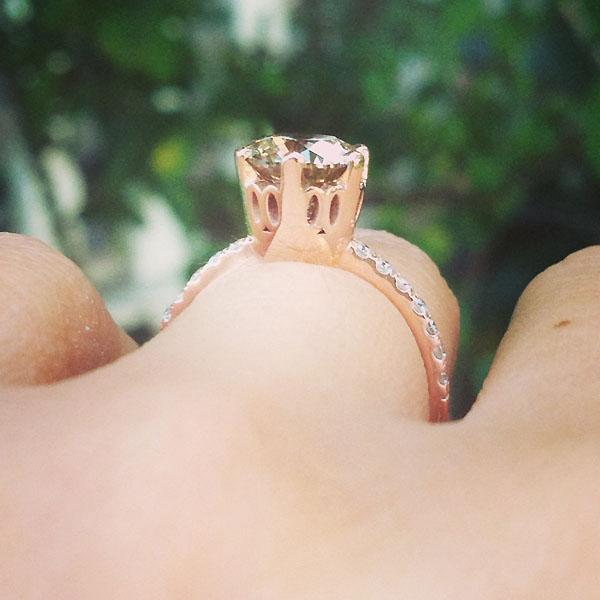 champagne diamond rose gold engagement ring