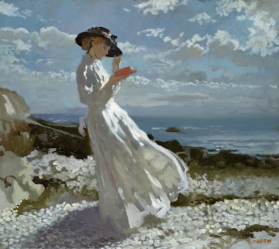 William Orpen.  Grace Reading at Howth Bay,  1902