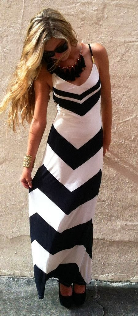 Adorable black and white lined maxi dress with matching necklace and sunglasses