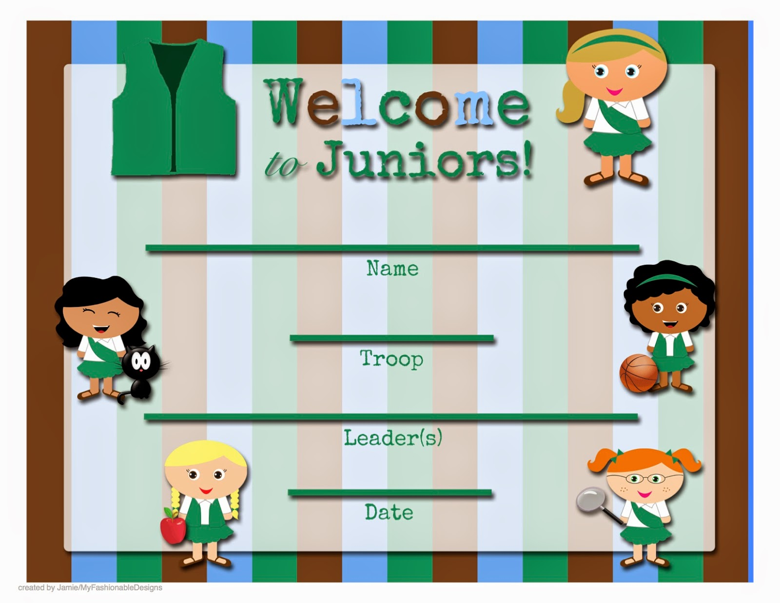 My Fashionable Designs: FREE Printable: Welcome to the Troop!