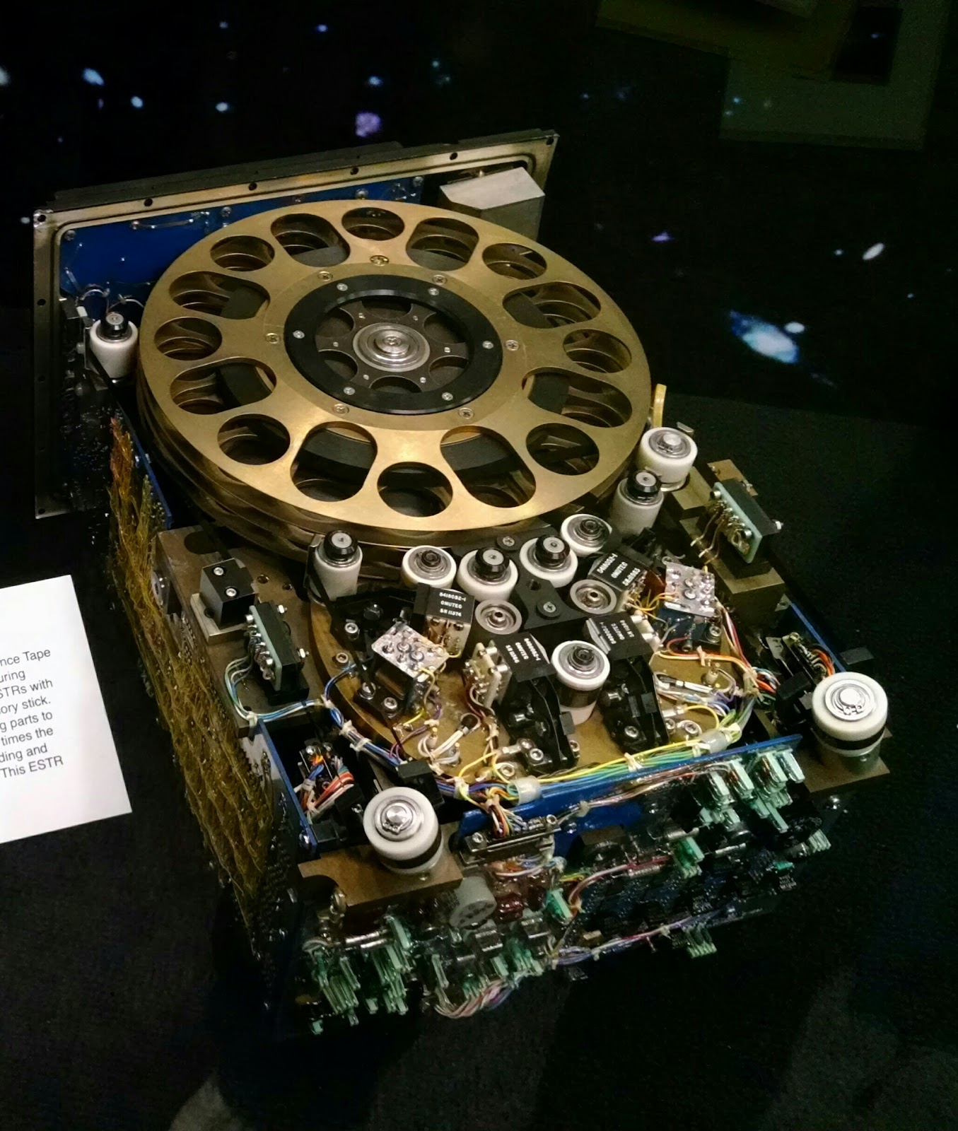 Image of an old reel-to-reel tape recorder on display at NASA Goddard.