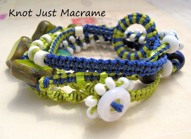 Macrame wrap bracelet in blue and chartreuse