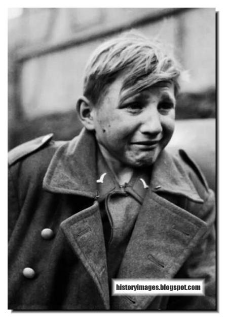 Crying German boy soldier after WW2