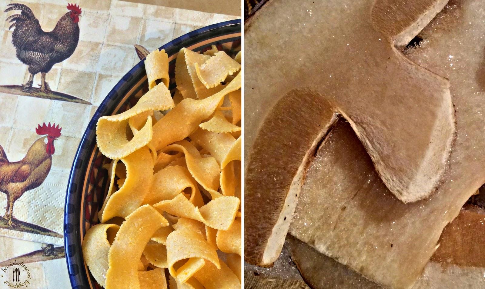 pasta rustica alla farina di mais con sugo ai funghi porcini. l'antica sapienza dell'arte pastaia toscana sulla mia tavola