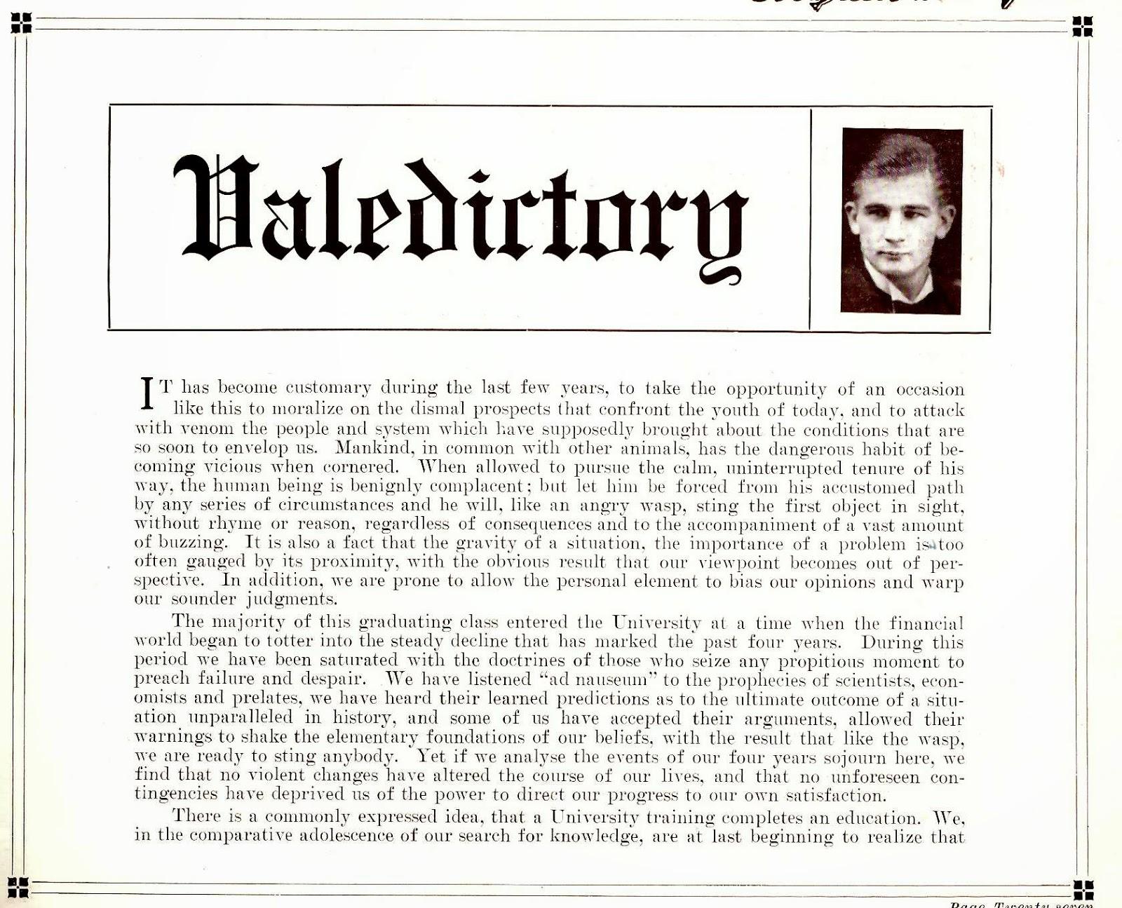 Valedirtory Note from 1932