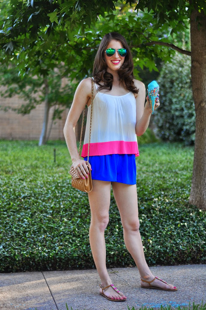 Forever21 Pleated Colorblocked Cami