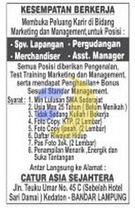 Lowongan Kerja Lampung, Jumat 24 April 2015 di perusahaan CATUR ASIA SEJAHTERA