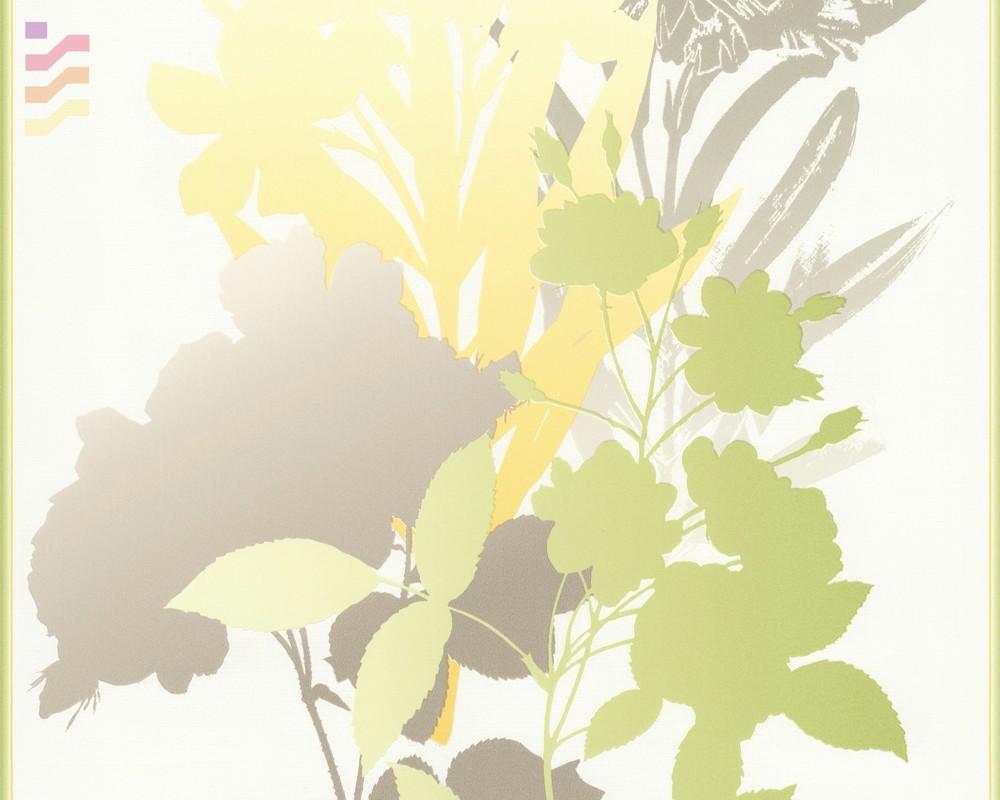 tapeta w zielone kwiaty