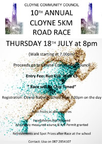 Fast 5k in Cloyne, E Cork - Thurs 18th July 2019