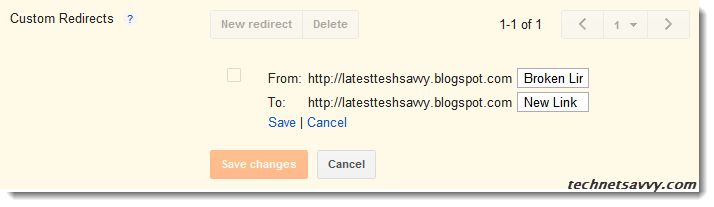 BlogSpot custom redirects