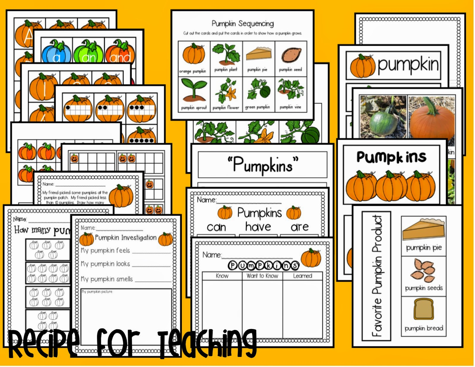 http://www.teacherspayteachers.com/Product/Pumpkin-Activities-1465895